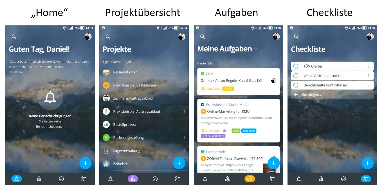 Mobile Ansicht MeisterTask